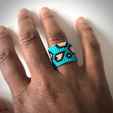 Blue Leopard Ring - size 5.5