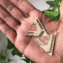 Hand woven earrings by Darcy Le Fleming