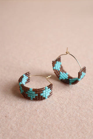 Hot Mama Hoops: Turquoise + Brown
