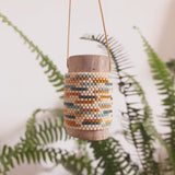 Hand woven beaded pendant made in Brooklyn