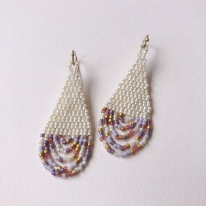 beaded bohemian earrings purple and cream