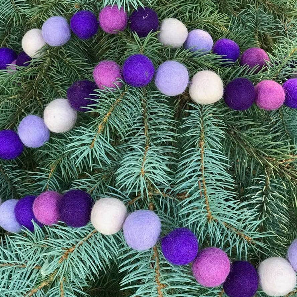*NEW* The Winding Road Purple Felt Ball Garland