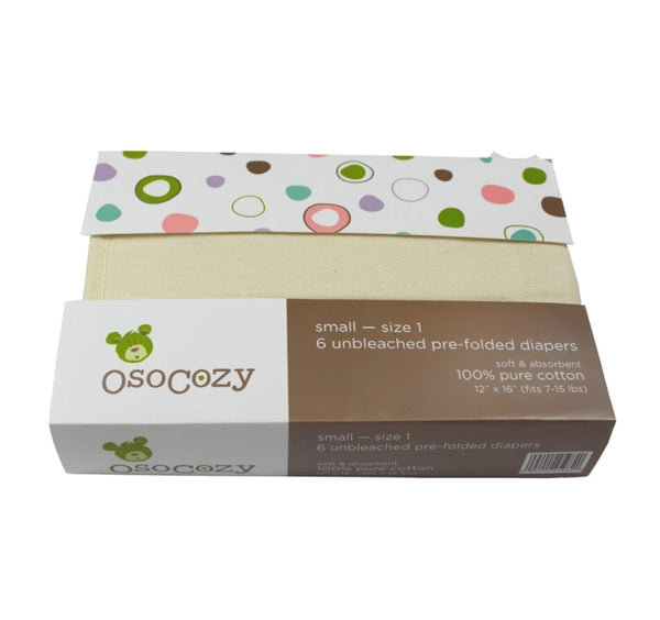 OsoCozy Unbleached Cotton Prefolds, 6 Pack