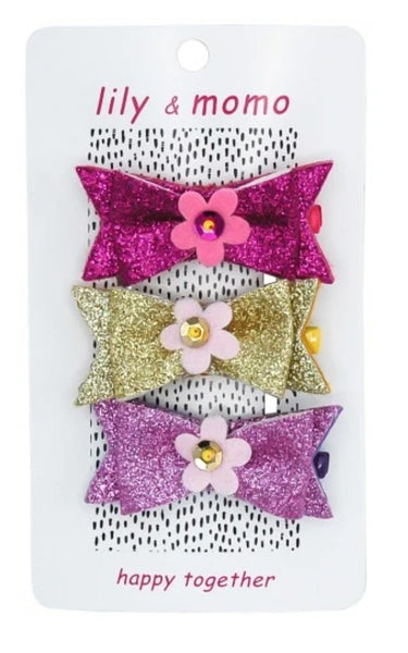 Lily & Momo Flower Glitter Bow Hair Clips Trio