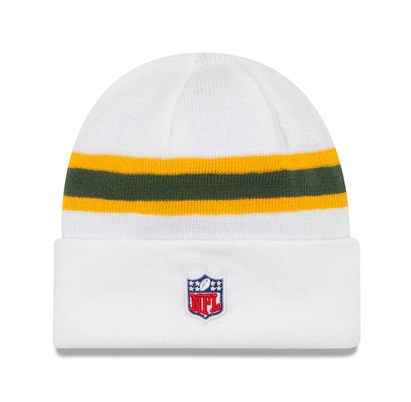 New Era Green Bay Packers White/Gold Unisex Beanie One Size