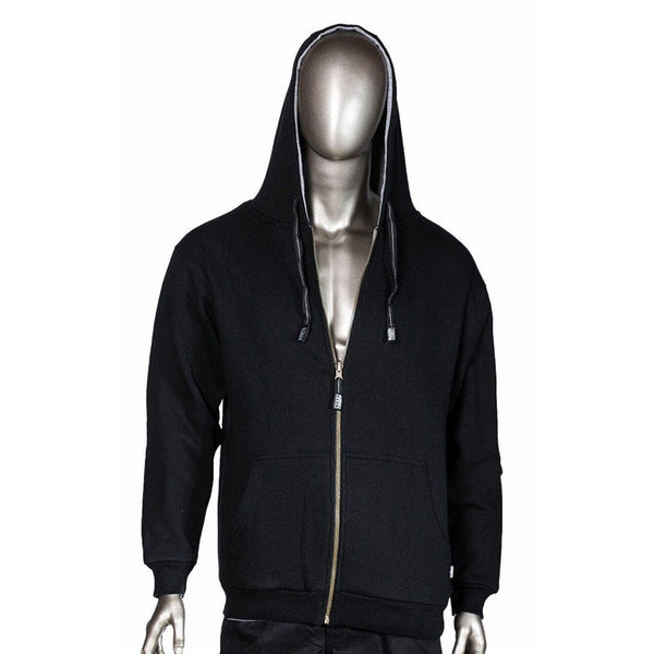 Pro Club Men's Black Thermal Full Zip Reversible Hoodie