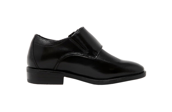 Florsheim Postino Double Monk, Jr.  Black Little Kids Slip-On Shoes