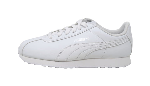 Puma Turin Leather True White/Silver Big Kids Shoes