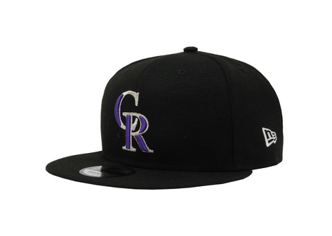New Era 9Fifty Colorado Rockies Baycik Black/Black/Purple Men Adjustable SnapBack Cap