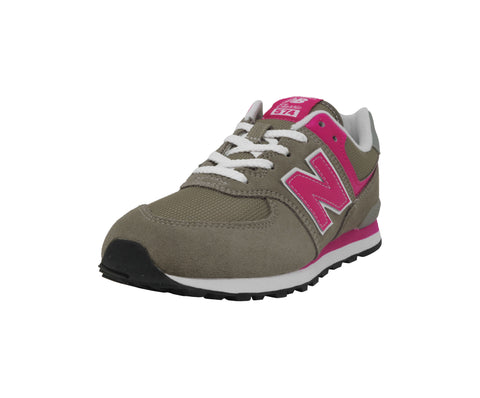 New Balance 574 Gray/Hot Pink Youth Shoes
