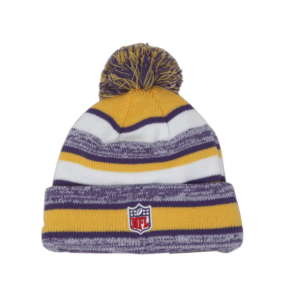 New Era NFL Minnesota Vikings Striped Purple/Yellow/White Men Beanie