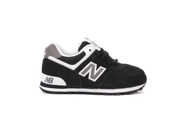 New Balance 574 Black/White/Gray Toddler Shoes