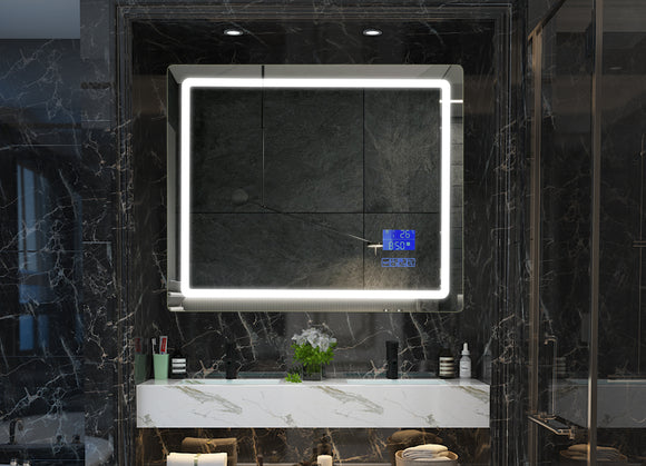 LED Smart Bathroom Mirrors 900mm(w) x 750mm(h) bluetooth speaker, Anti-fog, Clock, Temperature, Timer