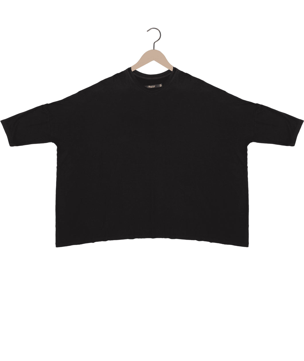 Box modal t-shirt in black Top DE LA COMMUNE