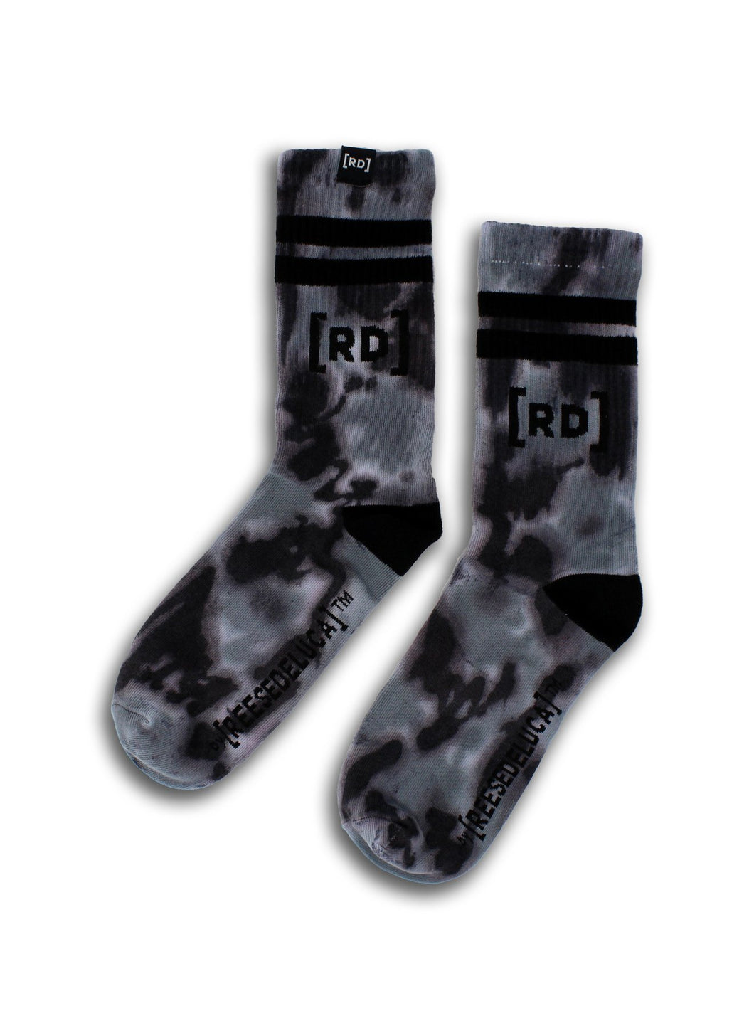 Brooklyn Striped Tie Dye Socks in Black Grey Socks by REESEDELUCA One Size Black Grey