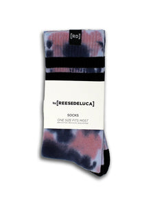 Brooklyn Striped Tie Dye Socks in Quartz Blue Socks by REESEDELUCA