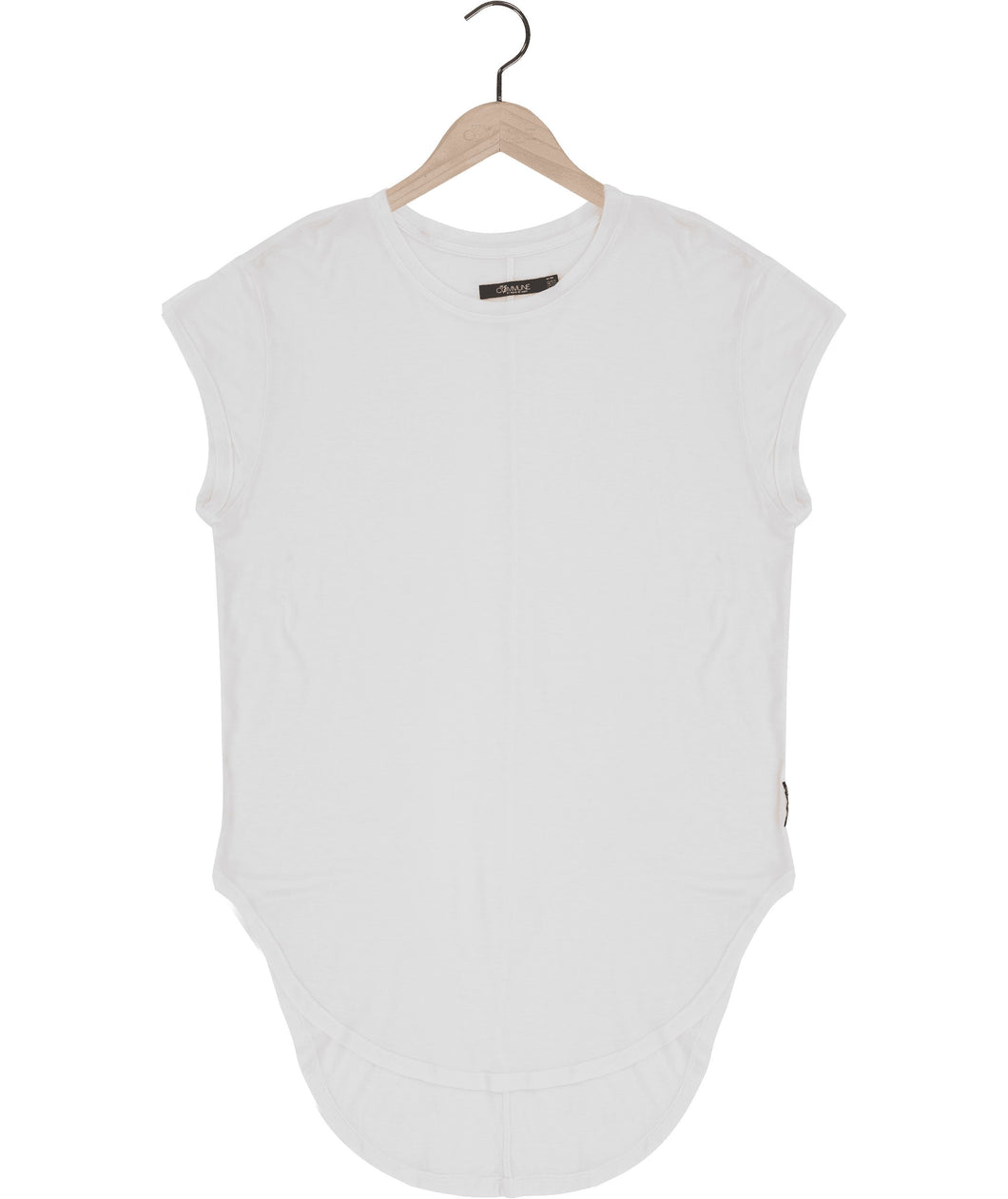 Cap sleeve silk jersey t-shirt in white Top DE LA COMMUNE