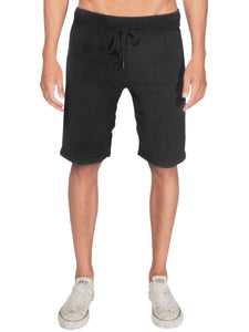 Jasper drop crotch french terry shorts in black Bottom DE LA COMMUNE