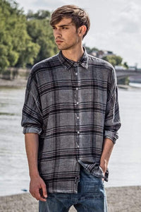 Parson plaid drop shoulder shirt in slate grey Top DE LA COMMUNE