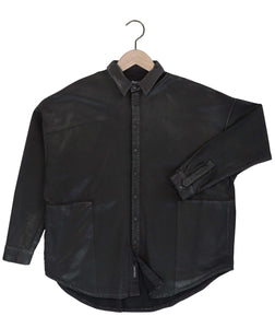 Parson waxed drop shoulder shirt in onyx black Top DE LA COMMUNE
