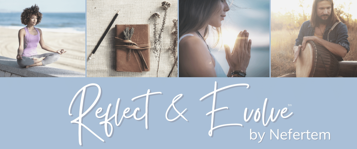 reflect and evolve header with meditation relaxation and spiritual growth