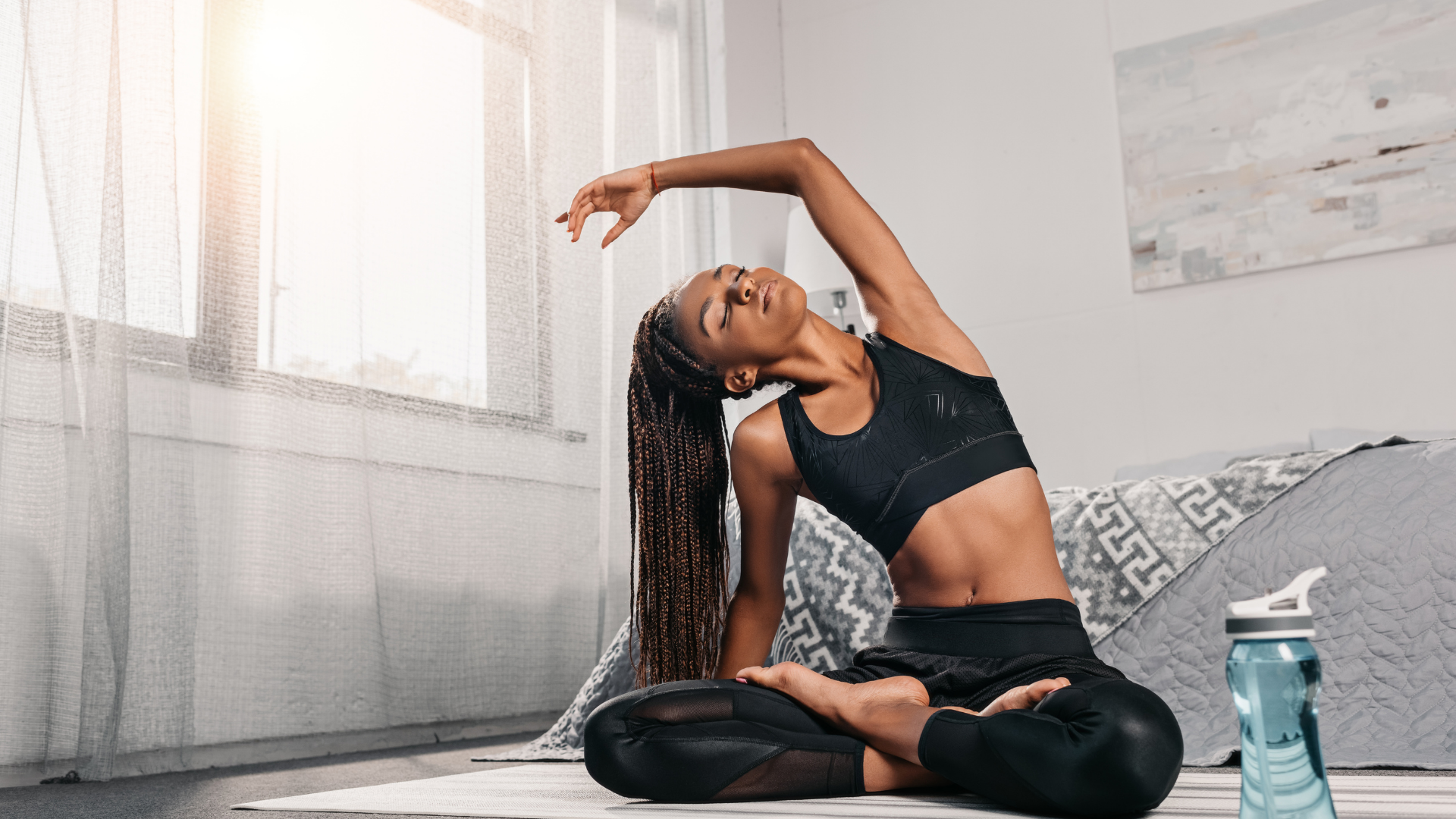 woman stretching doing mindful living practices