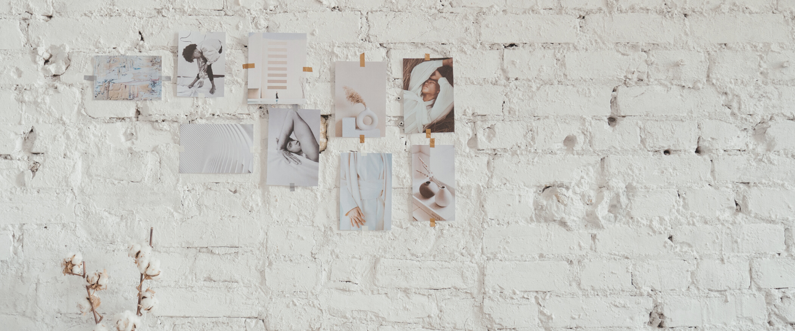 dream board with images taped to wall