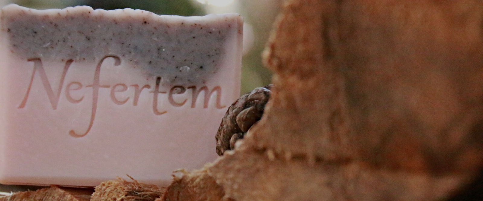 close up of nefertem natural bar soap