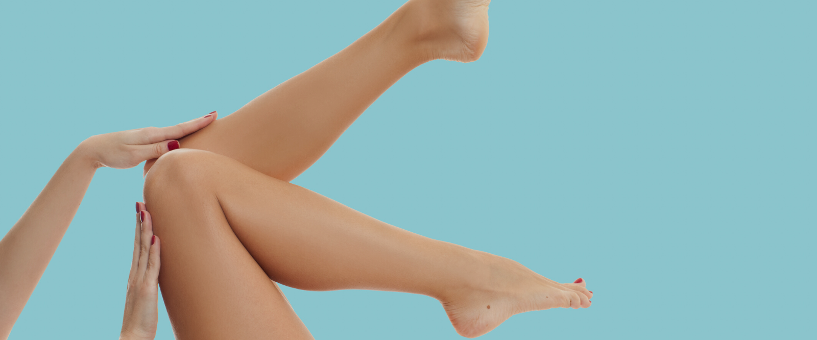 young looking legs with natural moisturizer on