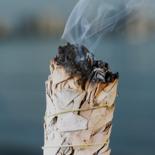 spiritually cleansing organic ingredients with burning sage smoke