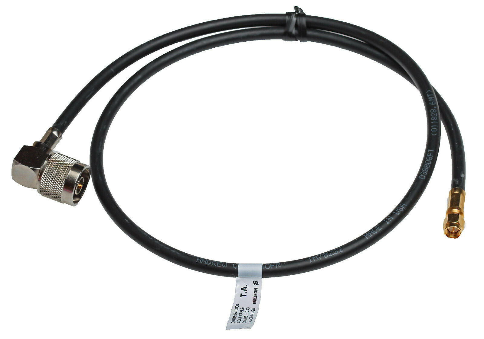 Coax 30in Pigtail N Male to SMA Male Andrew CNT-240-FR RG-8X 50Ω Jumper Cable-www.prostudioconnection.com