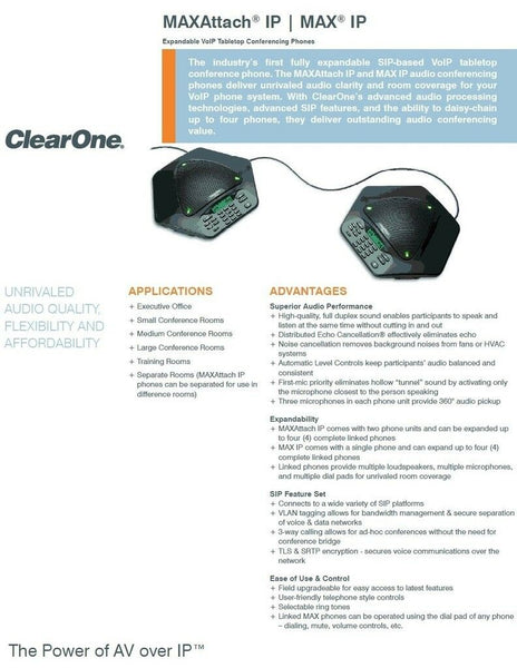 ClearOne MaxAttach IP Pair VoIP SIP Wired Audio Conferencing Phone * BAD LCDs-www.prostudioconnection.com
