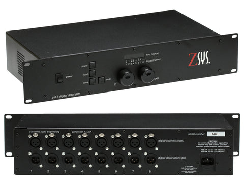 Z-Sys Z-8.8 Digital Detangler 8x XLR AES/EBU 96KHz 24bit Audio Patchbay Router [Used]-www.prostudioconnection.com