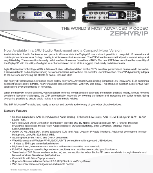 Telos Zephyr IP Audio Over IP AAC Codec Internet AES AoIP Transmission Endpoint [Used]-www.prostudioconnection.com