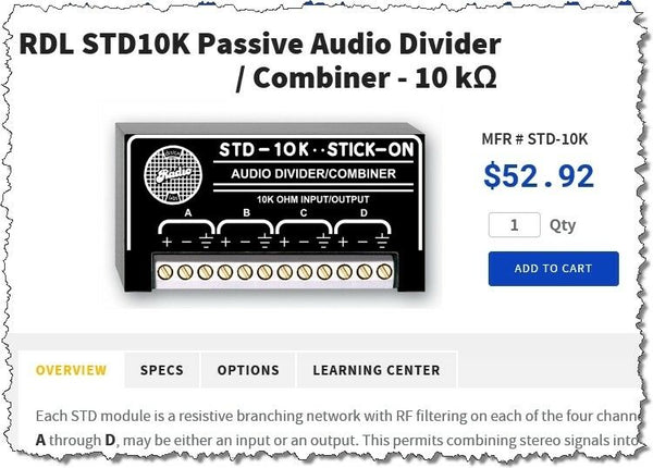 RDL STD-10K Passive 1:3 Splitter Combiner Divider Radio Design Labs Stick On [Refurbished]-www.prostudioconnection.com