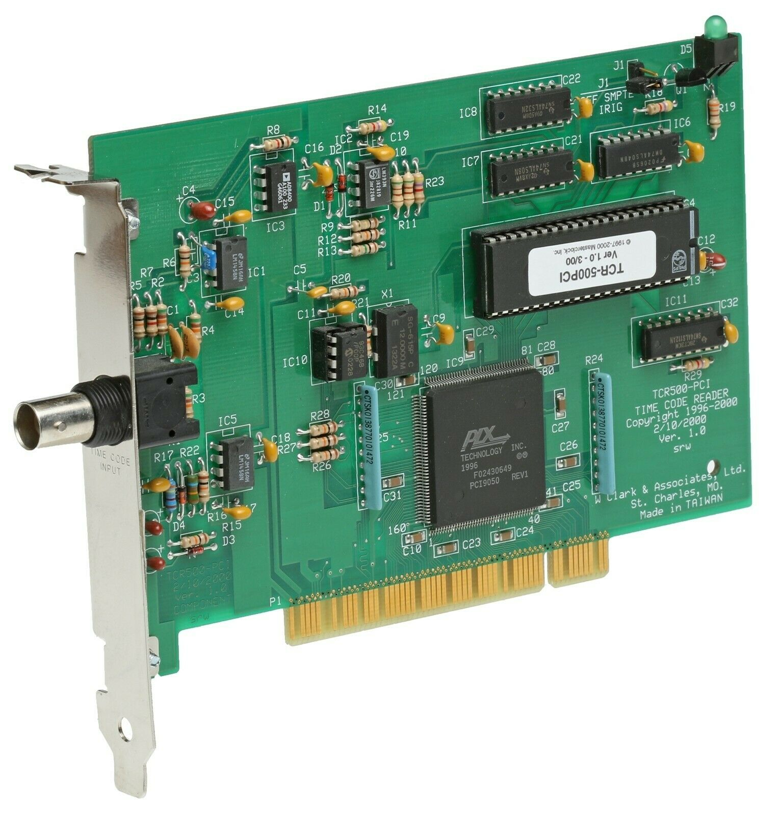 Masterclock TCR-500 Computer PCI SMPTE IRIG-B Serial Timecode Input Reader Card [Used]-www.prostudioconnection.com