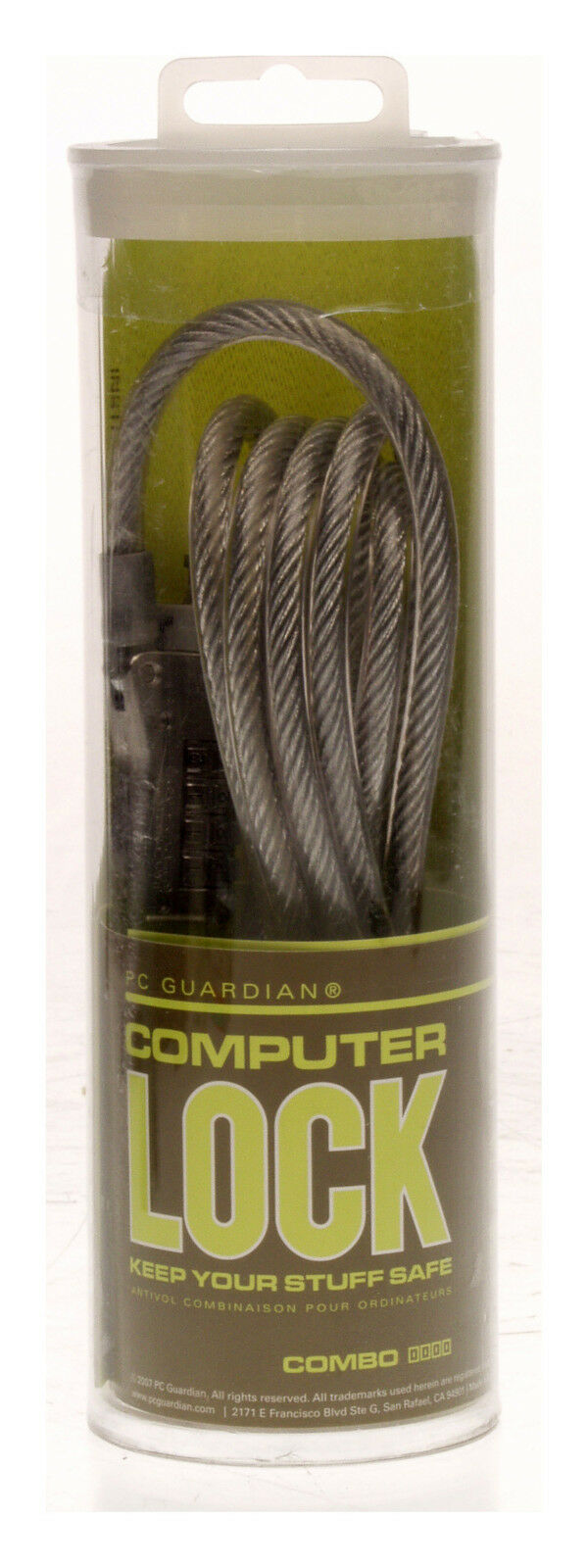 PC Guardian Computer Combination Lock Security 6' Cable Silver 22PS-70 * NEW-www.prostudioconnection.com
