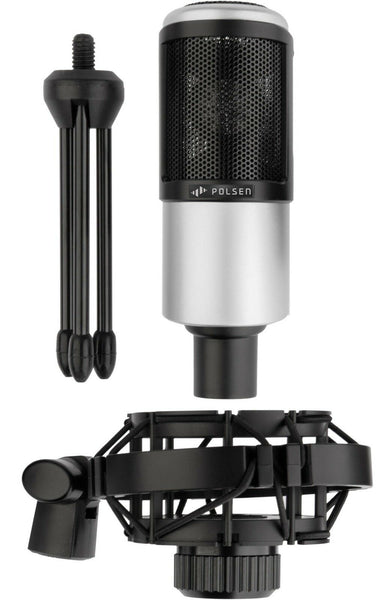NEW Polsen PCR-65 Cardioid Condenser Microphone w/ Shockmount and Desktop Stand [New]-www.prostudioconnection.com