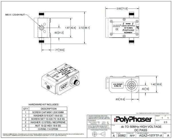 PolyPhaser AGXZ+15TFTF-A 50MHz TNC 1W Lightning Surge Protector GPS Antenna NEW-www.prostudioconnection.com