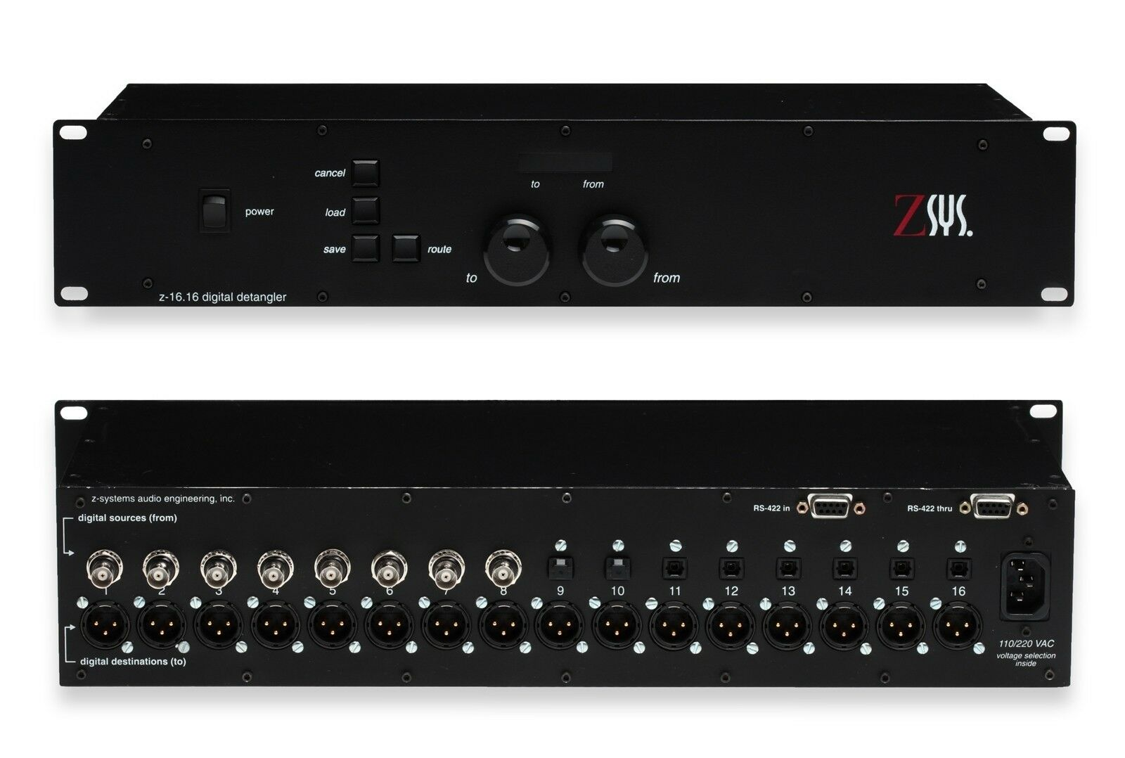 Z-Sys Z-16.16 Digital Detangler BNC TOSlink SPDIF to AES XLR Audio Router Switch [Refurbished]-www.prostudioconnection.com