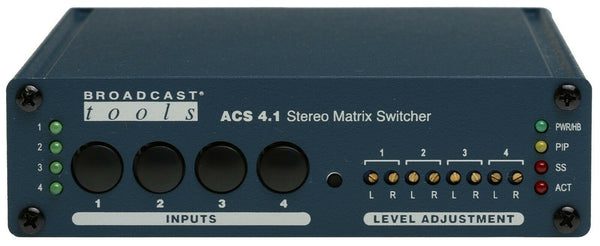 Broadcast Tools ACS 4.1 Stereo Balanced Automation Switcher Silence Sensor RS232-www.prostudioconnection.com