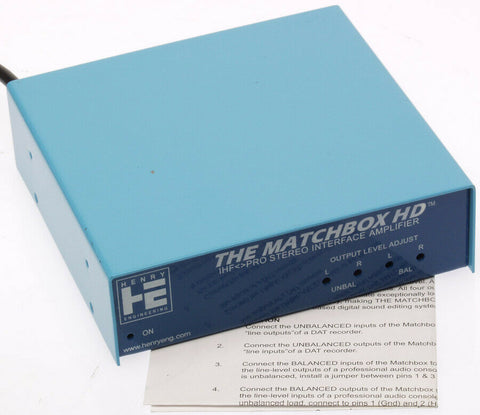 Henry Engineering Matchbox HD Unbalanced +4dB Balanced Audio Interface Converter