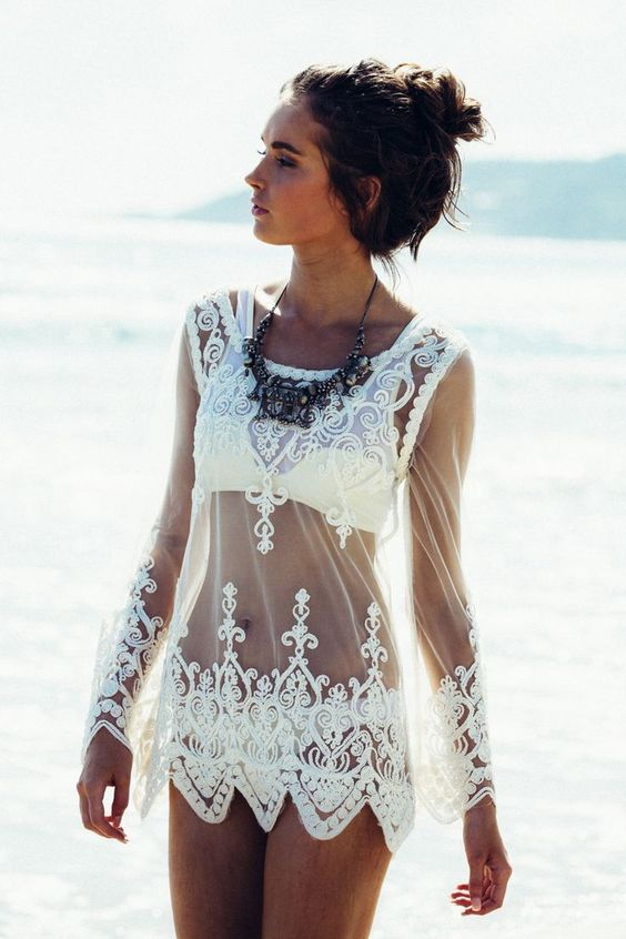 Lace cover ups white embroidery long sleeve beach dress swimsuit covers mini beach dress women mesh bikini cover-ups