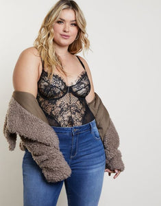 Plus Size Romantic Eyelash Lace Bodysuit