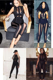Women Sexy Black Mesh Bodycon Party Bandage Rompers Bodysuit Clubwear HL winter  full length Jumpsuit