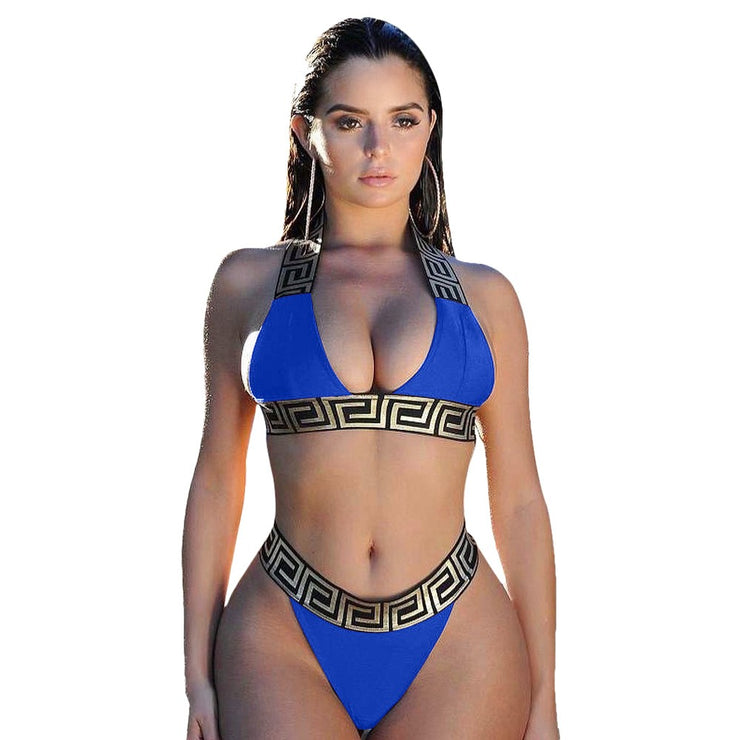 Bandage Swimsuit Sexy Bikini Set Women Crop Top Bikinis Swimwear Female Separate Fused Women&