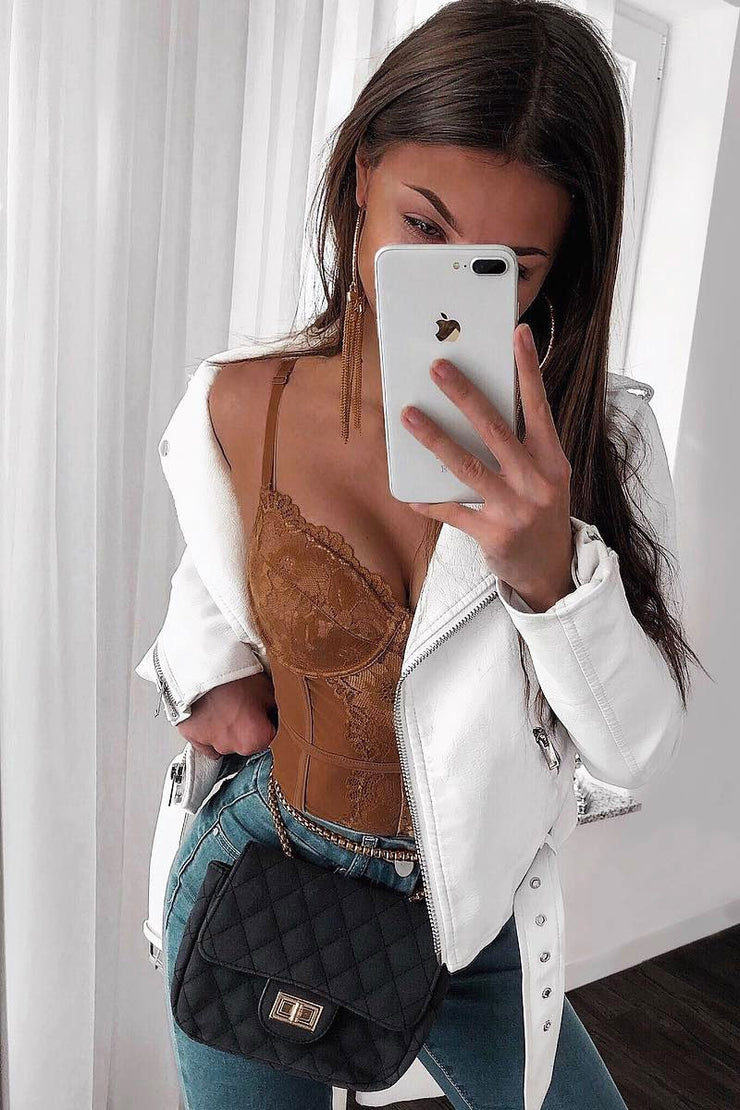 MOCHA LACE SCALLOPED HEM BODYSUIT