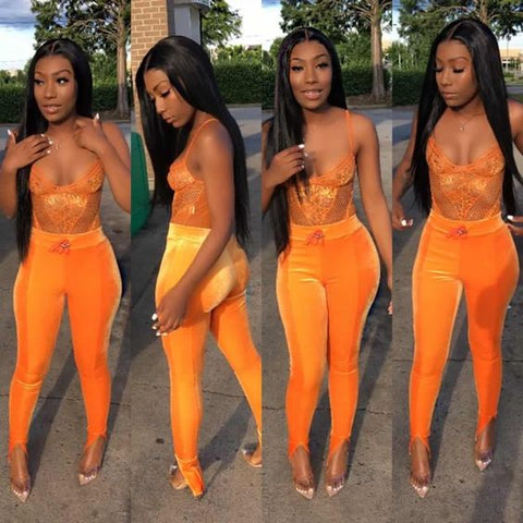 Lace Bodysuit Women Floral Hollow Out See Through Backless Sexy Tops Orange Summer Mesh Casual Jumpsuit Neon Green
