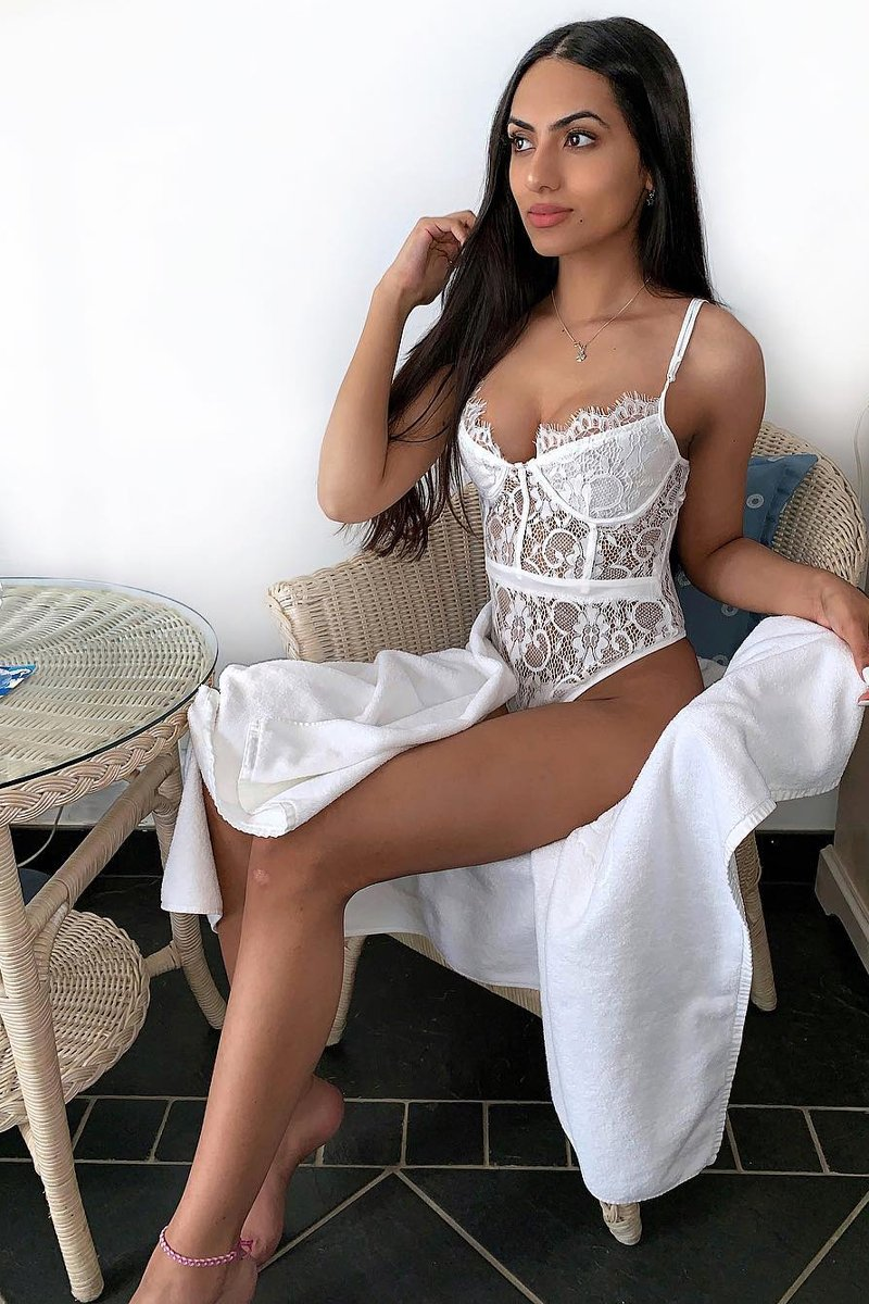 BLACK AND WHITE LACE FLOWER BODYSUIT