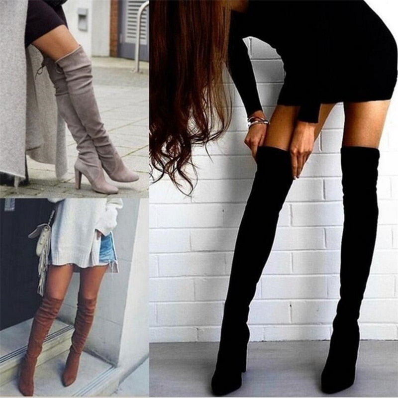 Women's warm boots autumn and winter new pointed thick with side zipper over the knee boots elastic boots women's shoes